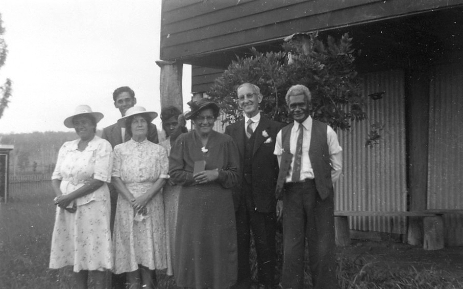 Men and women at AIM Church at Cherbourg Aboriginal Settlement c1947