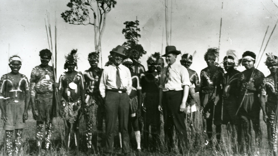 Decorated men with Semple and official at Cherbourg c1920