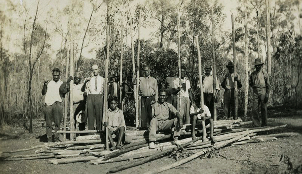 Men with wood for open-air cathedral at Barambah c1929