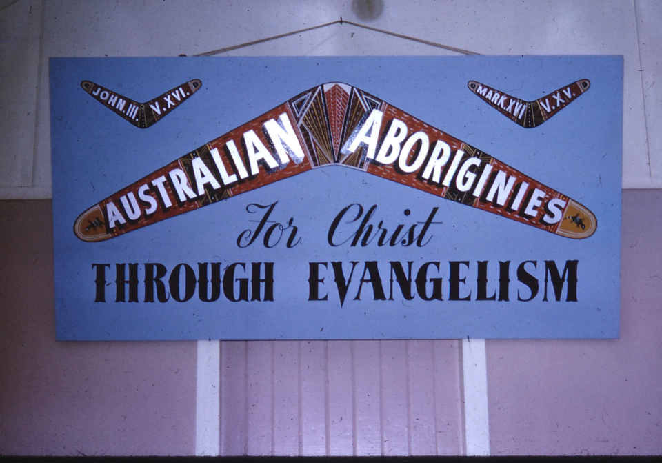 Banner in AIM Church at Cherbourg c1970