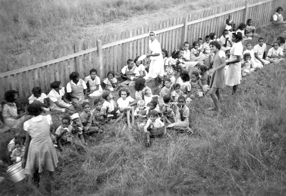 Children having lunch at Cherbourg c1950