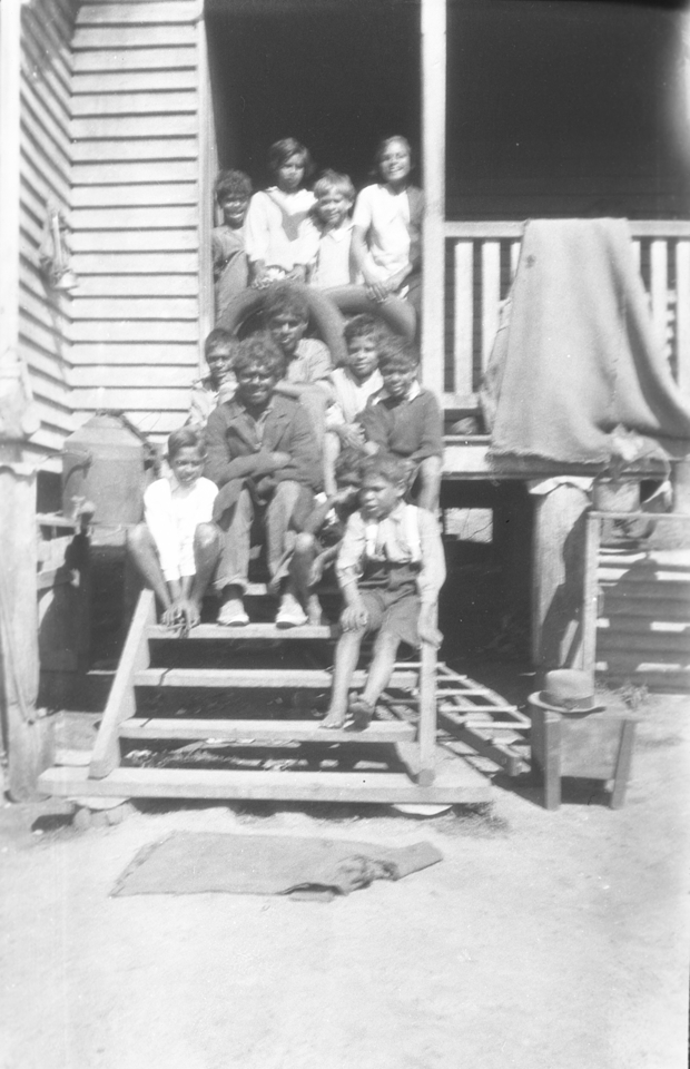 Children on steps of Boys Dormitory at Cherbourg 1934