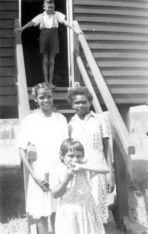 Girls and boy at AIM Church at Cherbourg c1940