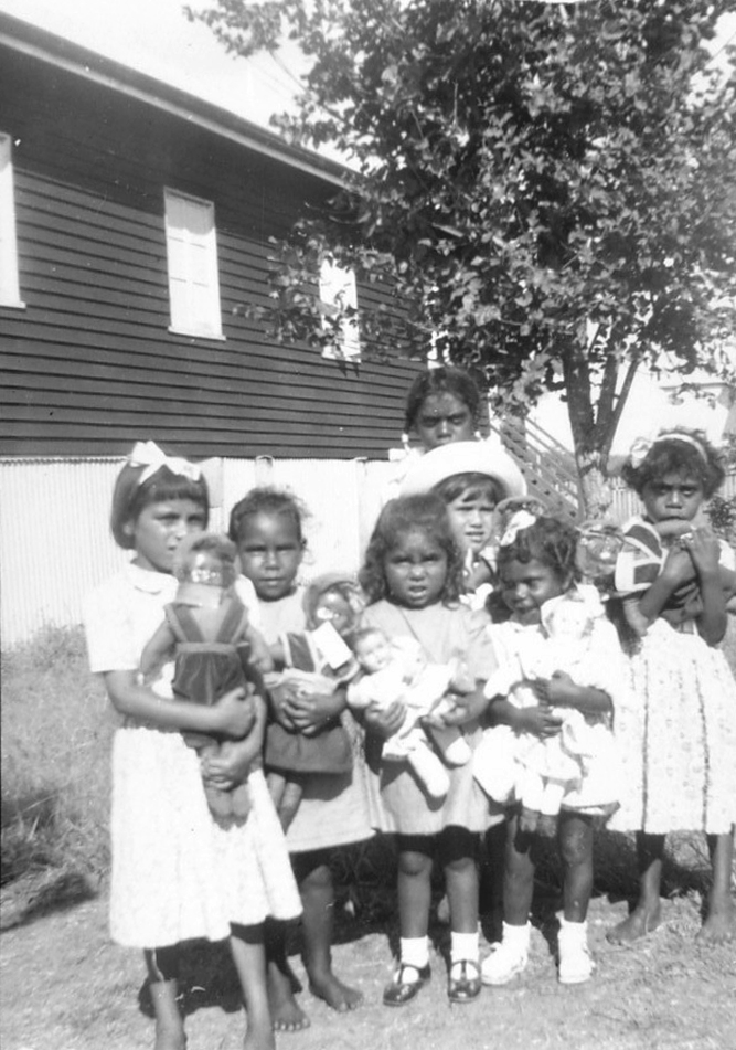 Girls with dolls at AIM Church at Cherbourg c1940