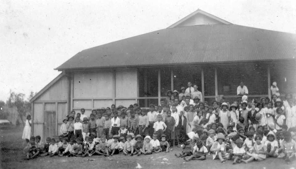 Group at the Welfare Hall at Cherbourg c1930