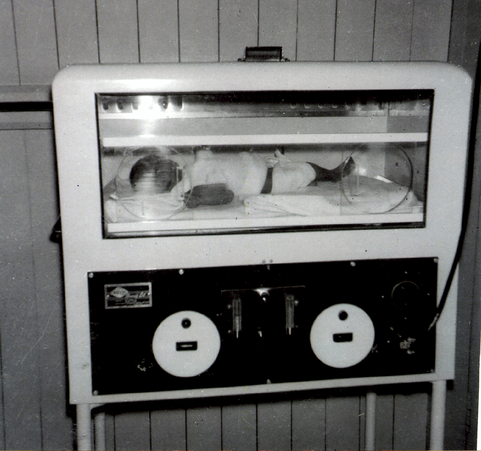 Baby in humidicrib at Cherbourg Hospital c1961