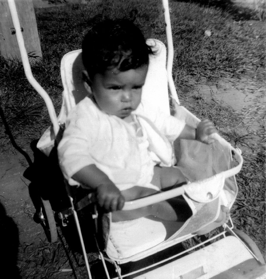 Baby in stroller at Cherbourg Hospital c1961