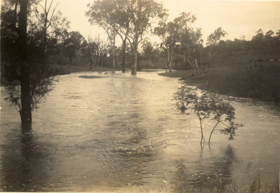 Barambah Creek in flood at Cherbourg c1935