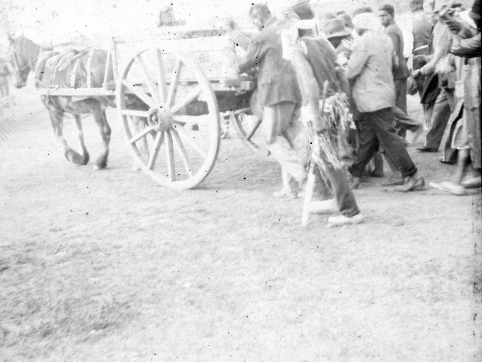 Funeral procession with horse drawn cart at Cherbourg 1934