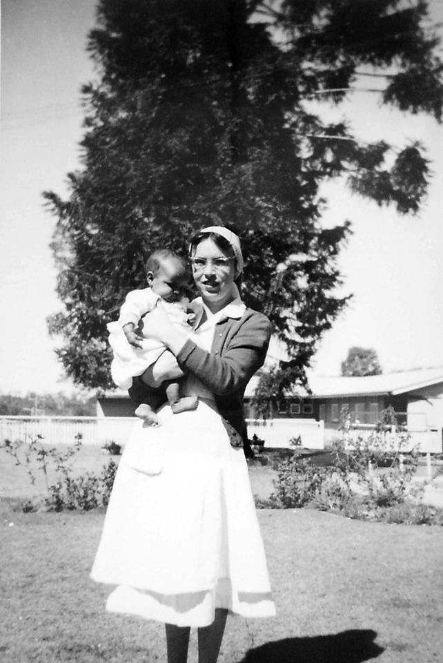Nurse and baby at Cherbourg Hospital c1961