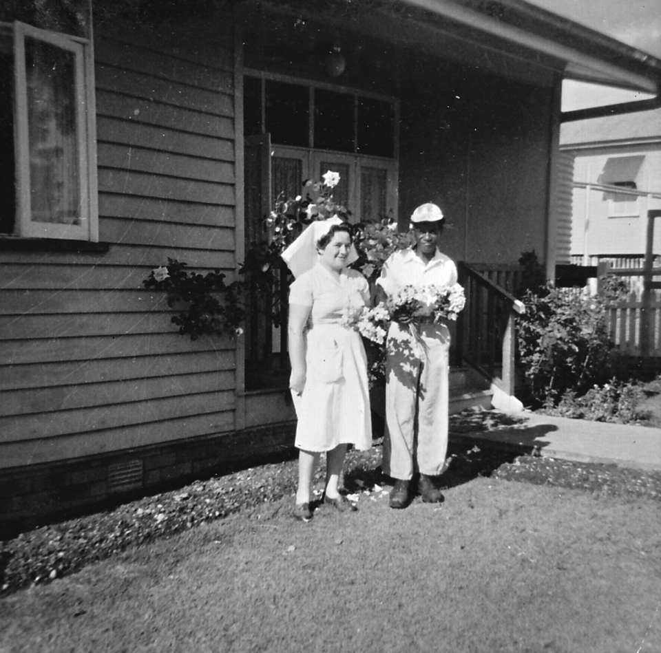 Nurse and Barry Fewquandie at Cherbourg Hospital c1962