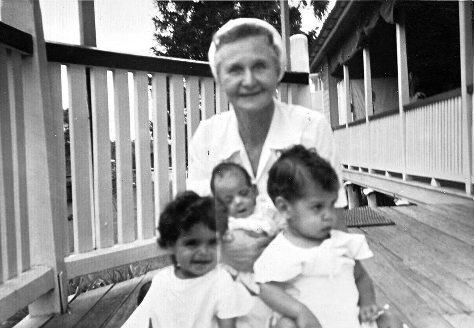 Nurse Hilda Secombe with babies at Cherbourg Hospital c1961