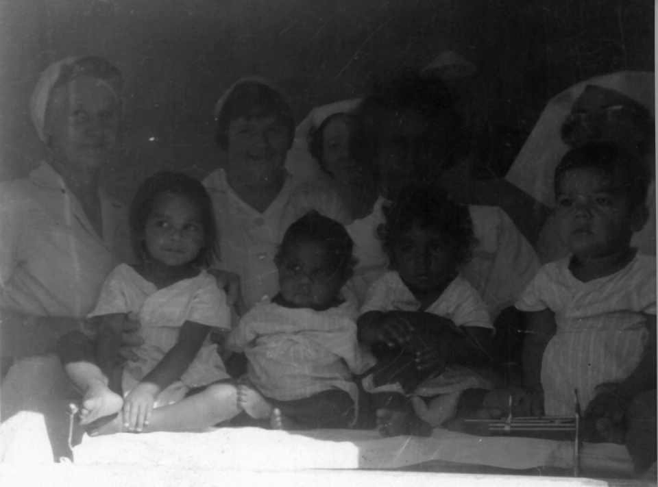 Nurses and babies at Cherbourg Hospital c1961