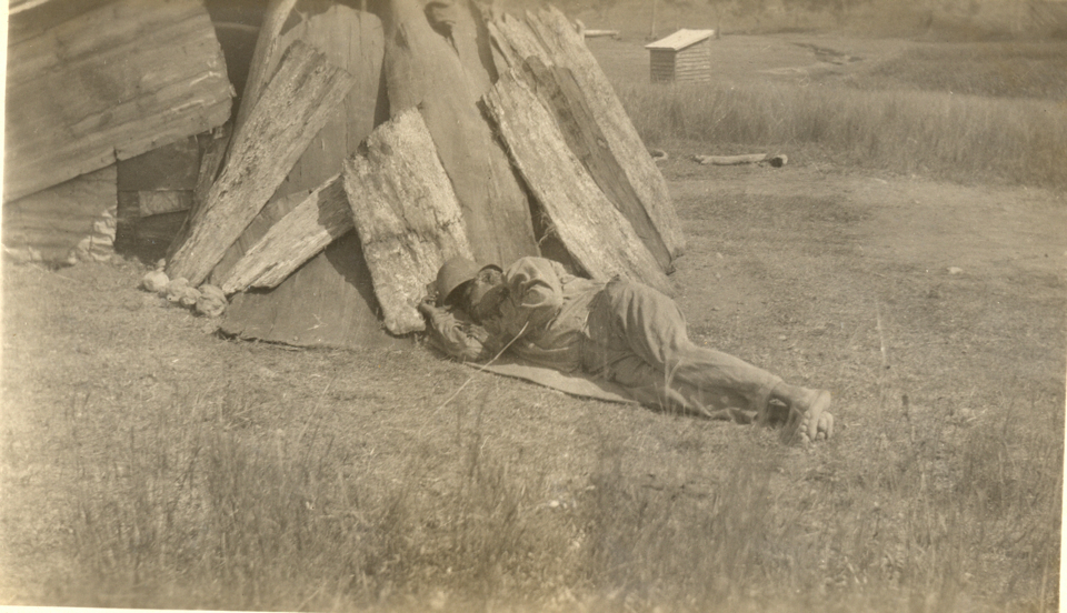 Old man lying down at Cherbourg c1935
