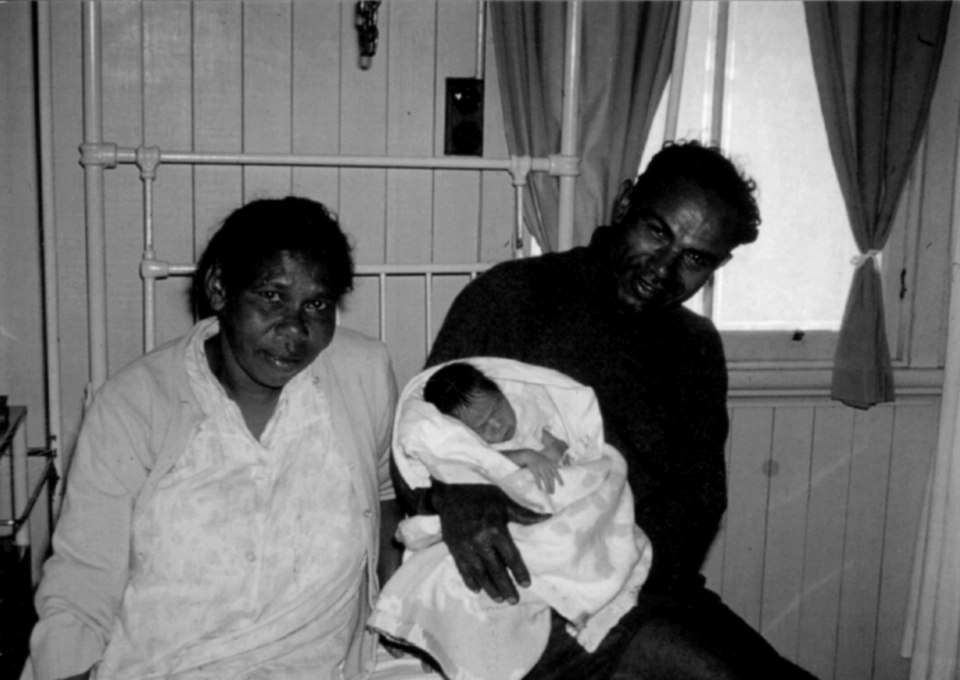 Parents with newborn at Cherbourg Hospital c1961