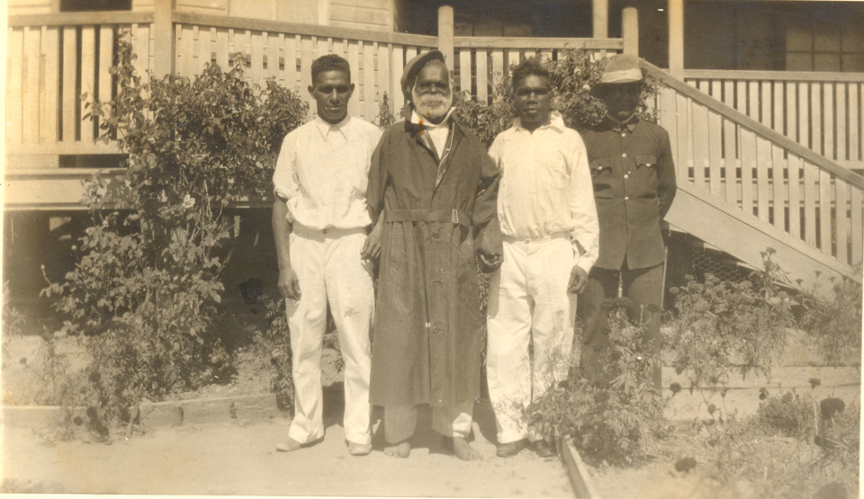 Robin Cobbo, Jimmy Flourbag, Tom Black and Bertie Brown at Cherbourg Hospital c1935