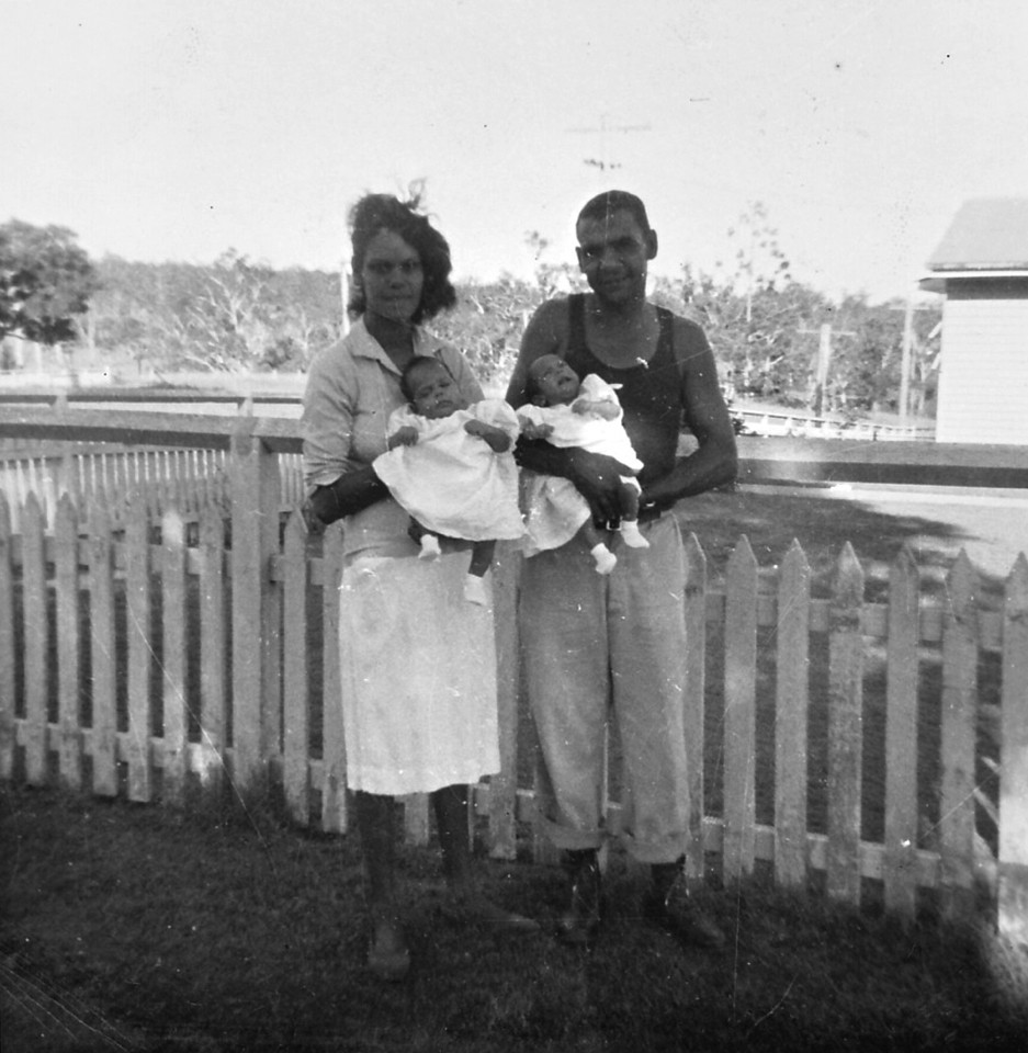 Twins and parents at Cherbourg Hospital c1961