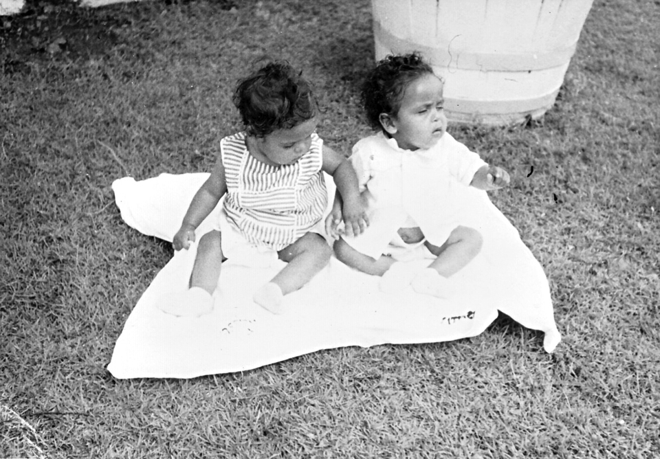 Two babies on a rug at Cherbourg Hospital c1961