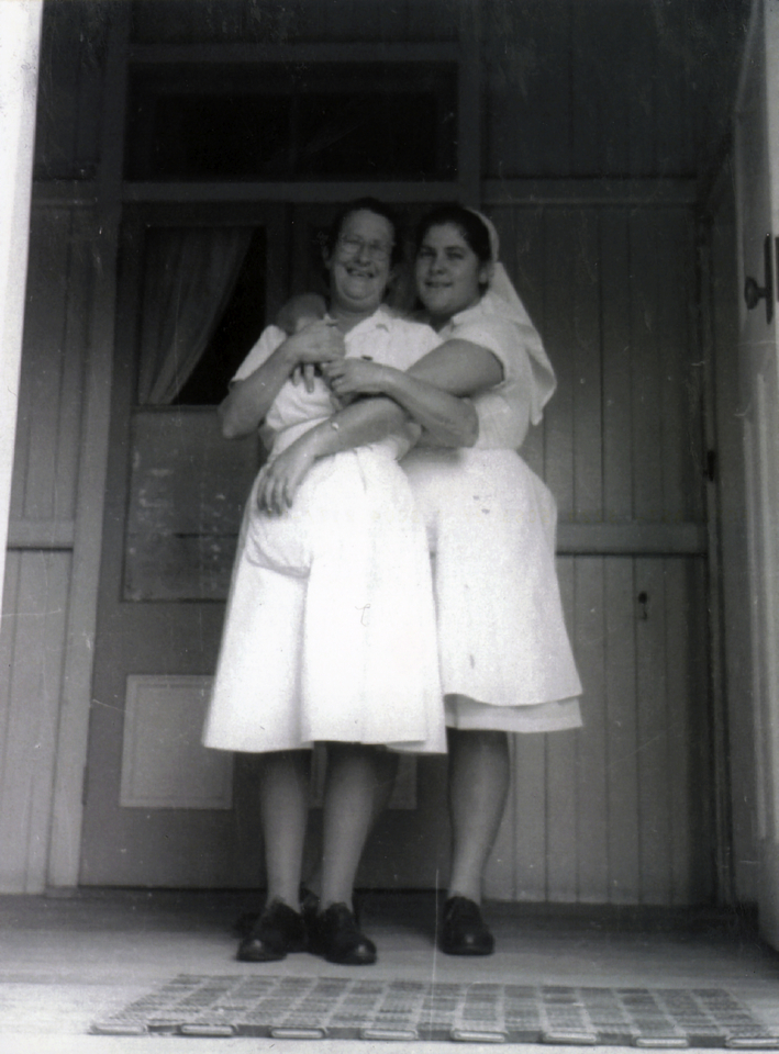 Two nurses at Cherbourg Hospital c1961