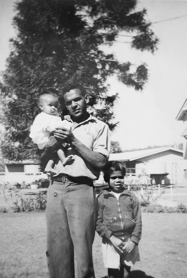 Violet Alberts son and grandchildren at Cherbourg Hospital c1961