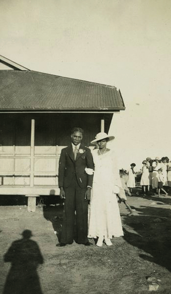 Bride and groom at Welfare Hall at Barambah Aboriginal Settlement c1930