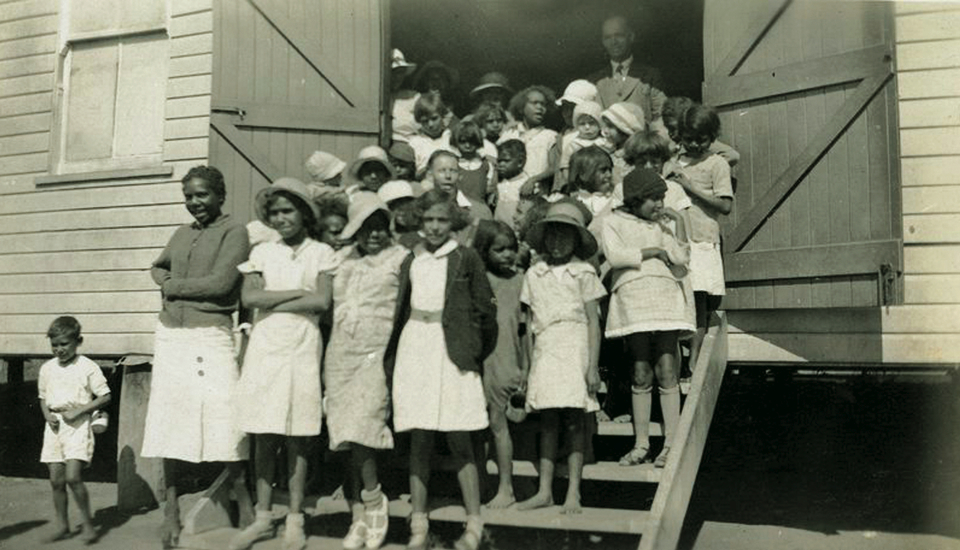 Children at the Welfare Hall at Cherbourg Aboriginal Settlement c1933