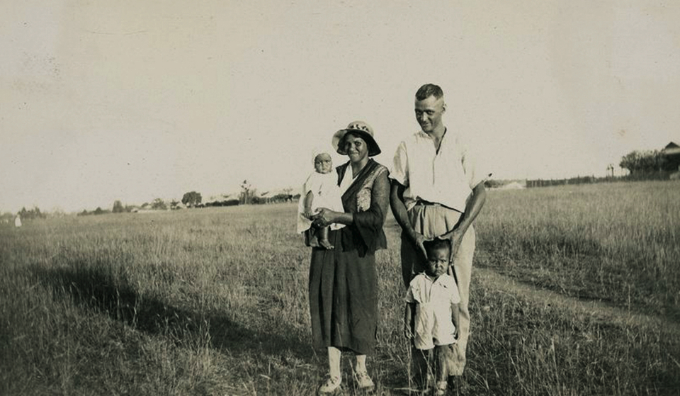 Jim and Dorothy Stanley with Nell and Arthur at Cherbourg Aboriginal Settlement c1933