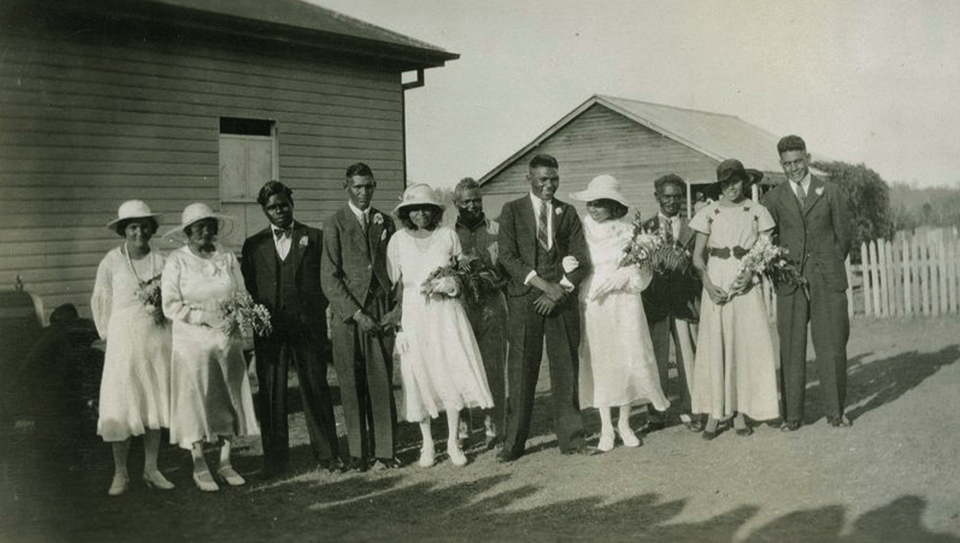 Jack O'Chin and Lorna Loder on their wedding day at Cherbourg c1930