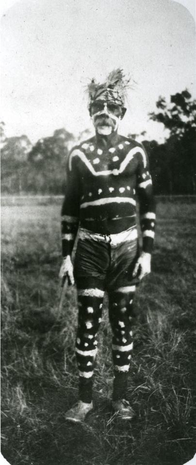 Decorated man at Barambah Aboriginal Settlement c1920