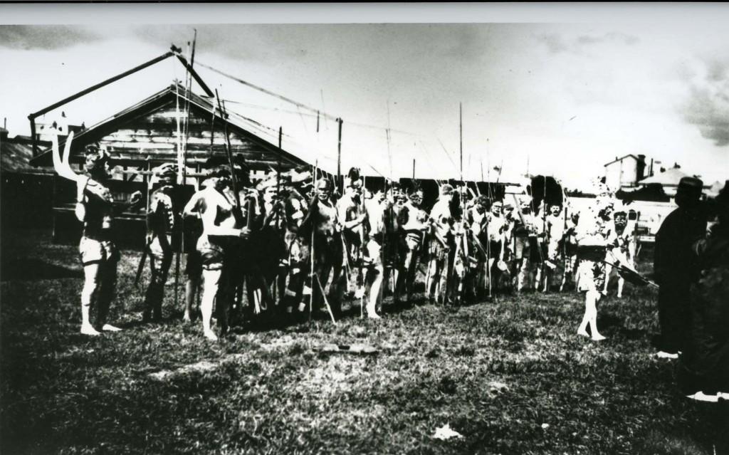 Decorated men at Grand Native Corroboree at the RNA Bowen Hills 1924
