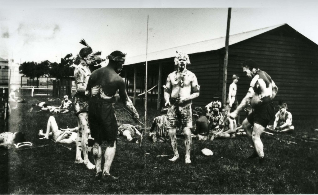 Decorated men at Grand Native Corroboree at the RNA Bowen Hills 1924