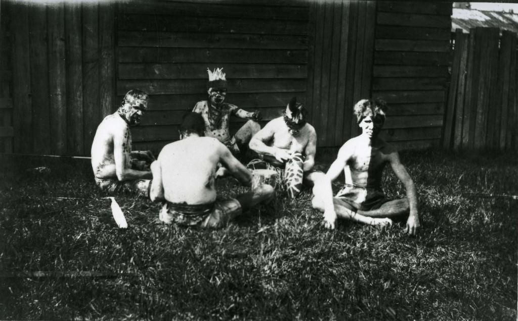 Joe Hegarty, Oscar Collins and Bruce Walker at Grand Native Corroboree 1924