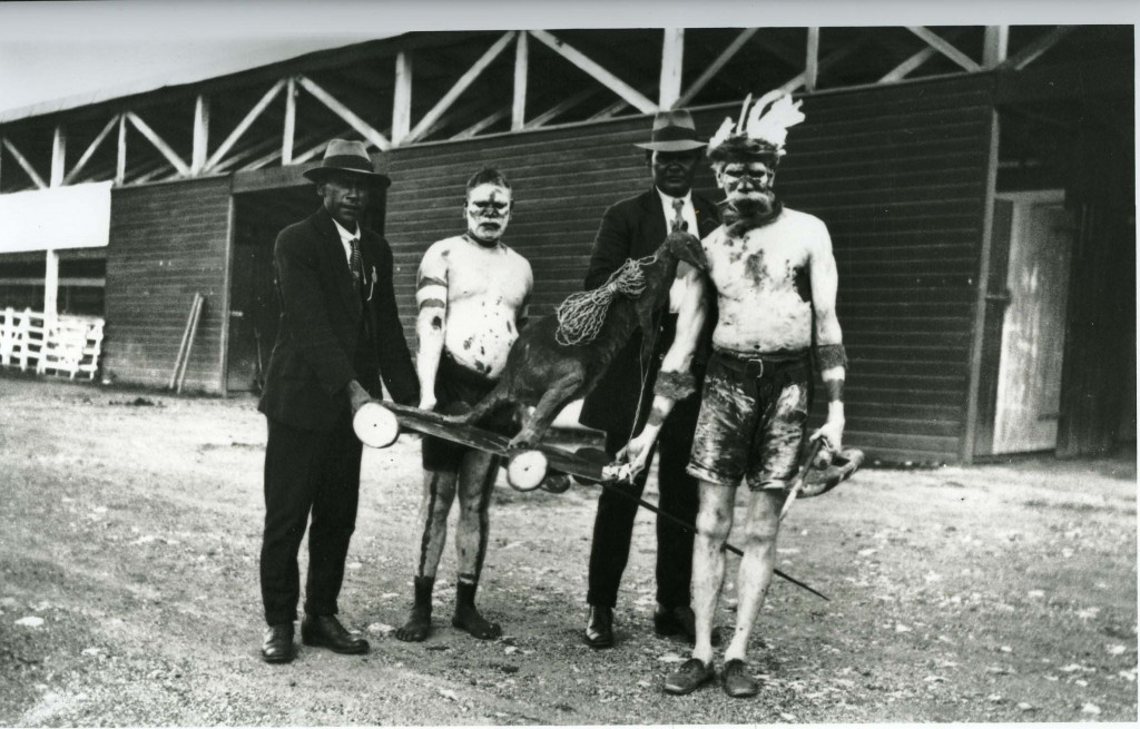 Men with kangaroo at Grand Native Corroboree at the RNA Bowen Hills 1924