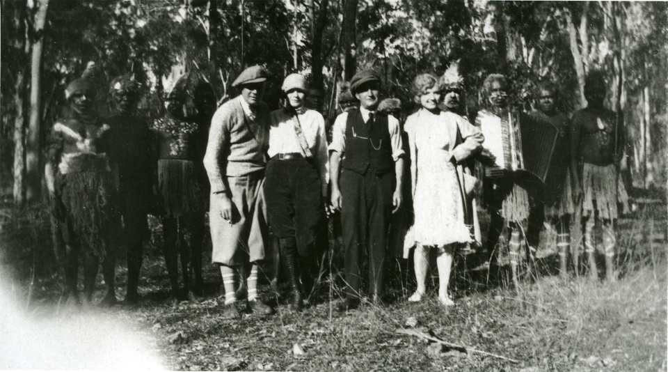 Cherbourg men and cast from movie set c1930