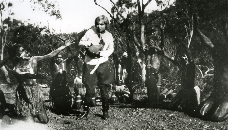 Cherbourg men performing for movie c1930