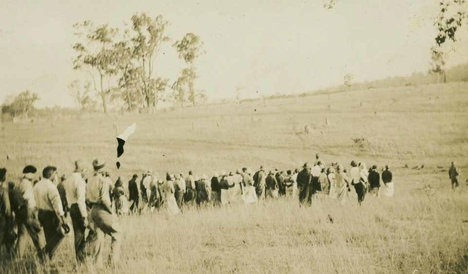 Funeral procession at Cherbourg Aboriginal Settlement c1930