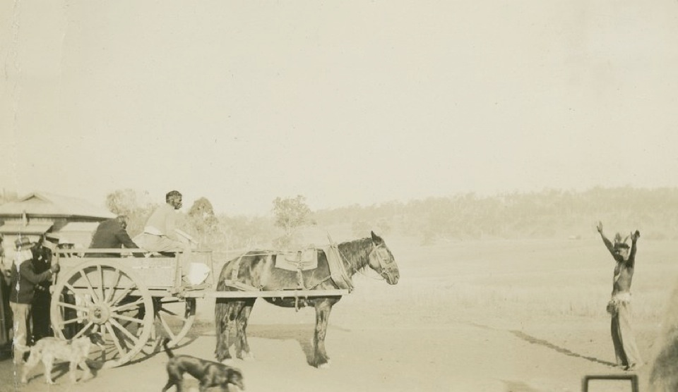 Funeral procession lead by King Billy at Cherbourg Aboriginal Settlement c1930
