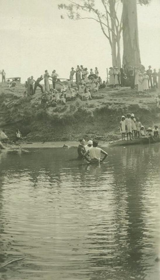 Baptism in Barambah Creek at Barambah Aboriginal Settlement c1930