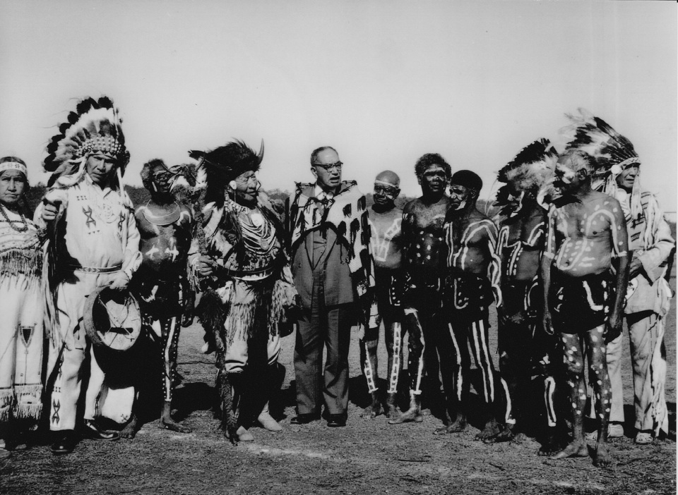 Chief-Walking-Buffalo-and-others-in-Cherbourg_1960s