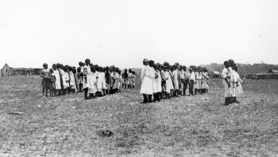 Children on parade at Barambah Aboriginal Settlement  1911