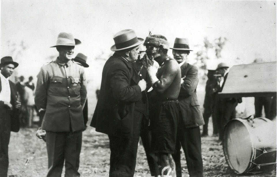Cobbo Williams play acting with Mr Stopford at Cherbourg Aboriginal Settlement c1925
