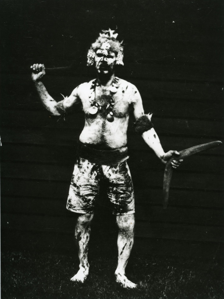 Decorated man at the Grand Native Corroboree at the RNA Bowen Hills 1924