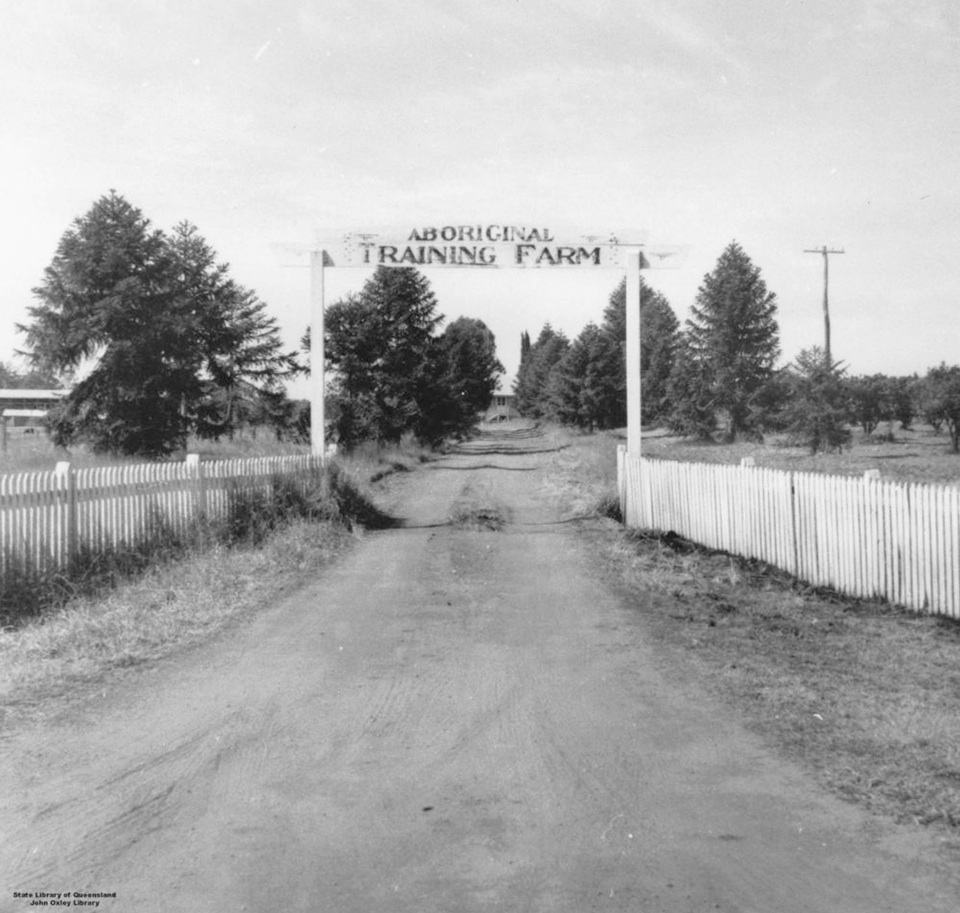 Entrance to Aboriginal Training Farm at Cherbourg c1940