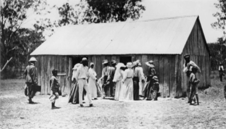 Flour distribution at Barambah Aboriginal Settlement 1911