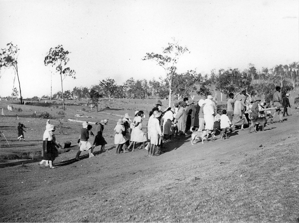 Funeral procession near cemetary at Barambah Aboriginal Settlement c1928