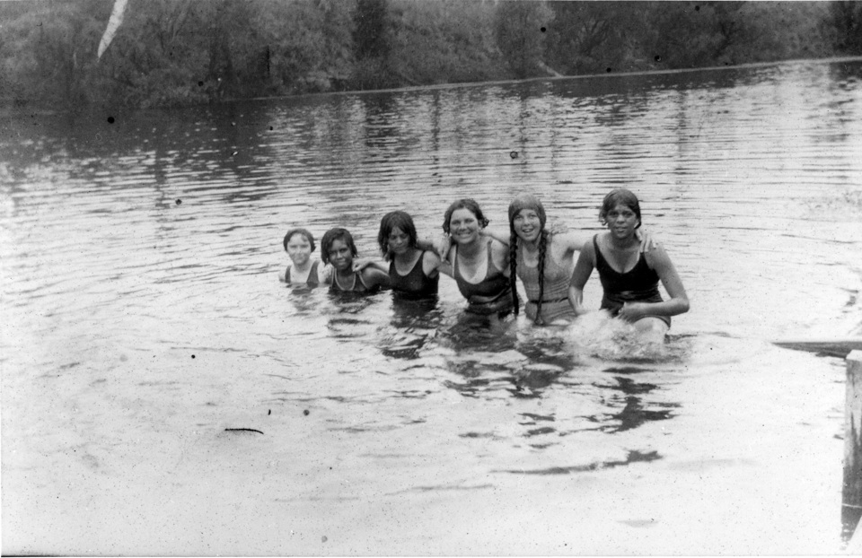 Girls swimming in Barambah Creek at Cherbourg Aboriginal Settlement c1930