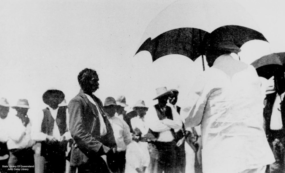 Governer Sir William McGreggor being welcomed to Barambah 1911