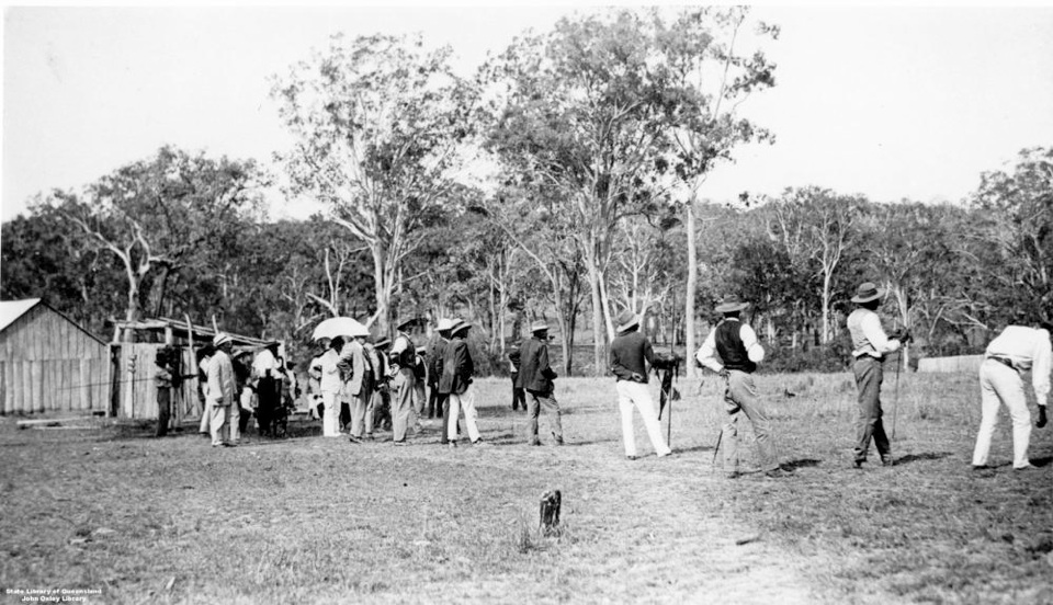 Governer Sir William McGreggor watching spear throwing at Barambah Aboriginal Settlement 1911