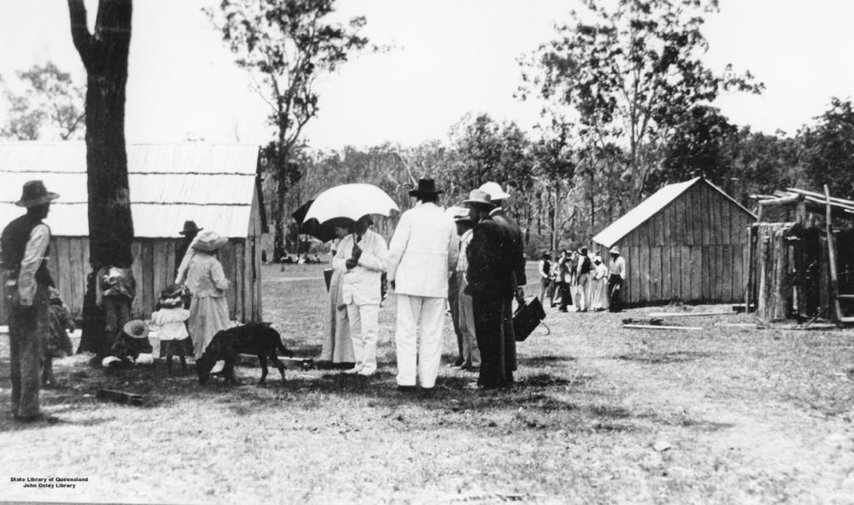 Governer Sir William McGreggor with group at Barambah Aboriginal Settlement 1911