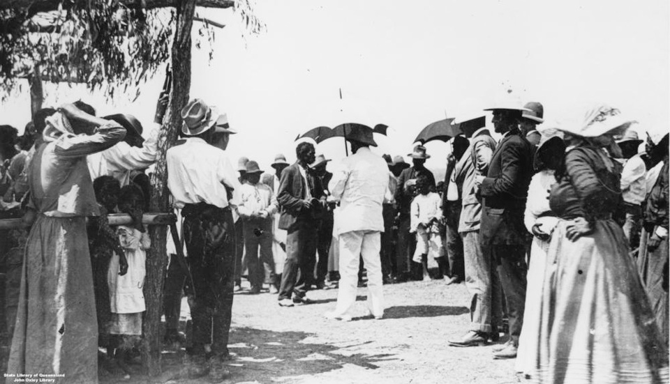 Governer Sir William McGreggor with large group at Barambah 1911